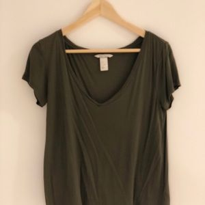 H&M silky olive t-shirt
